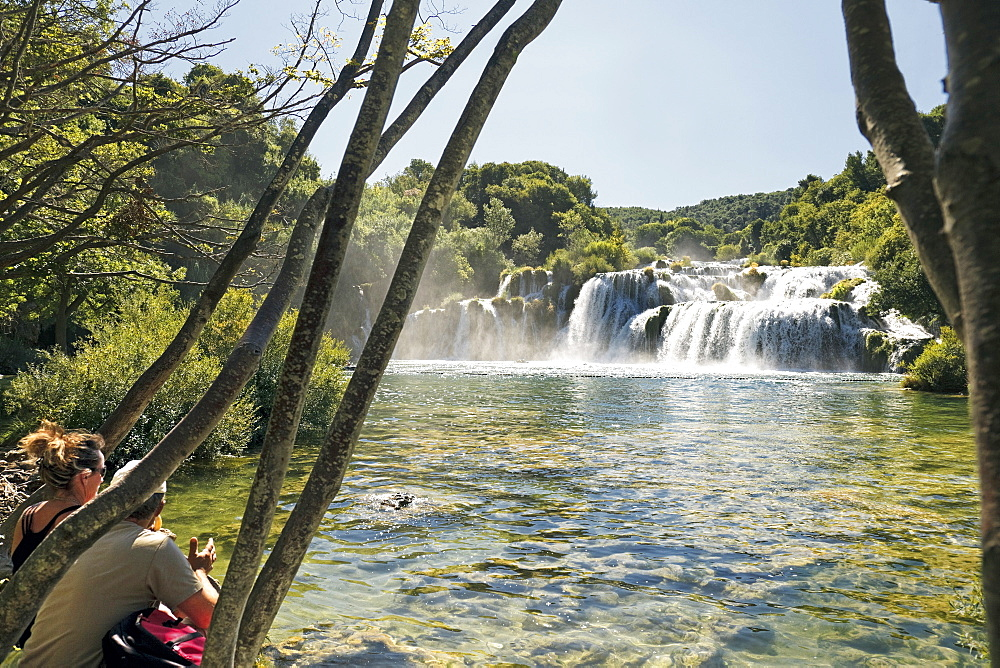 View of waterfall in krka National park in Dalmatia, Croatia