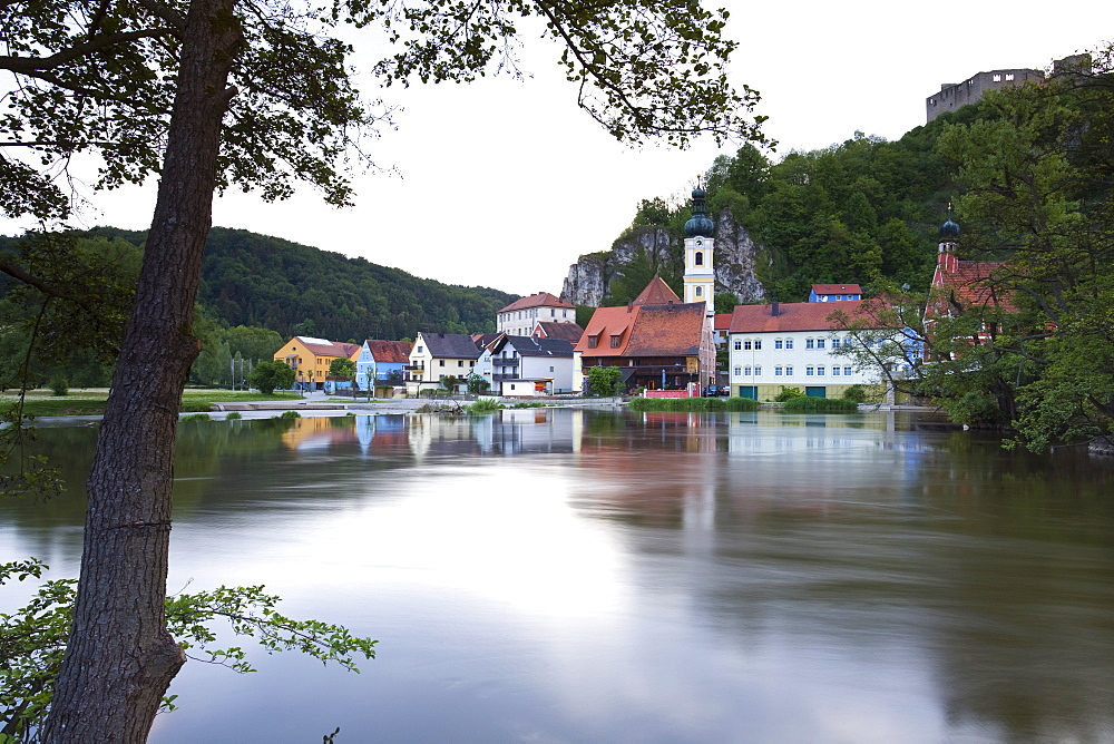 View of Naab river and medieval village of Kallmunz, Bavaria, Germany