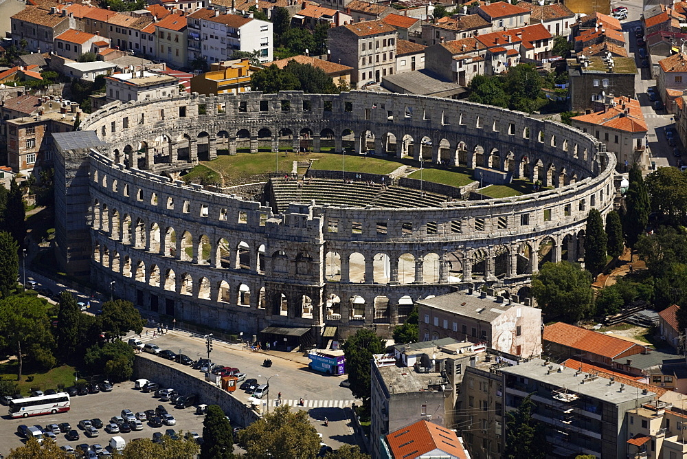 Elevated view of amphitheatre at Old Town in Pula, Croatia