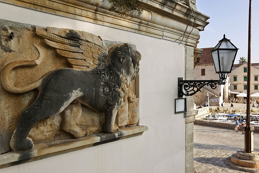 Winged lion in Hvar building, Croatia