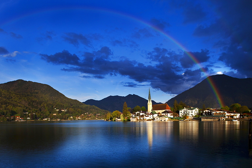 View of rainbow over Rottach-Egern, Bavaria