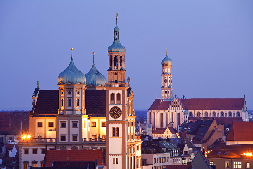 View of Perlachturm Hall and St. Ulrich's and St. Afra's Abbey in Augsburg, Germany