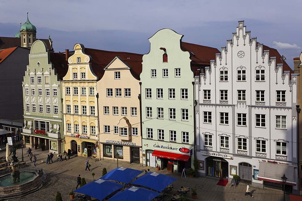 Gabled houses at Moritz Square in Augsburg, Bavaria, Germany