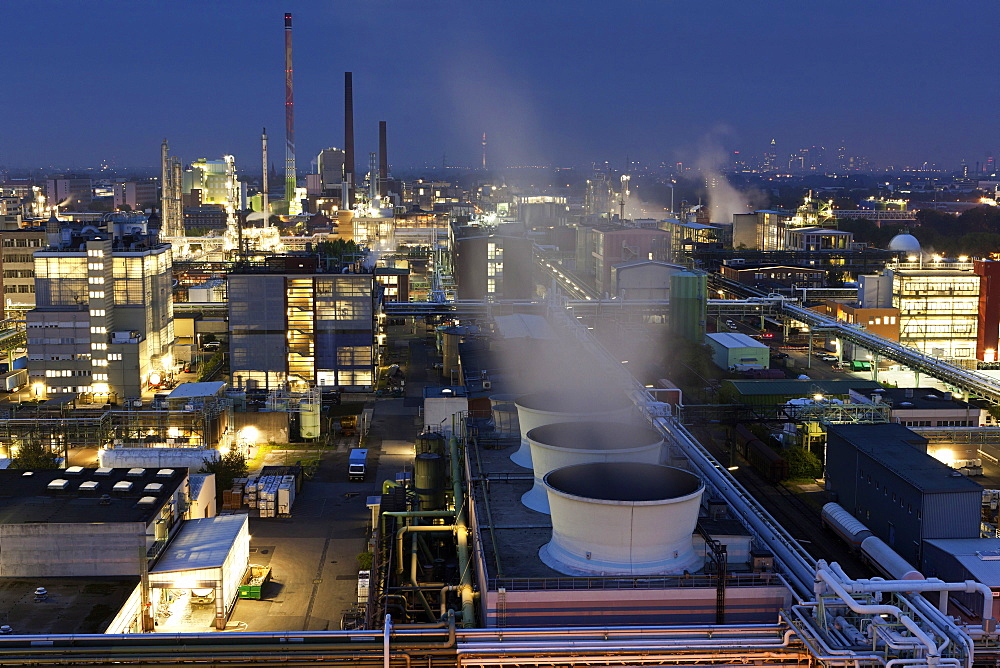 View of industrial park in Frankfurt, Hesse, Germany