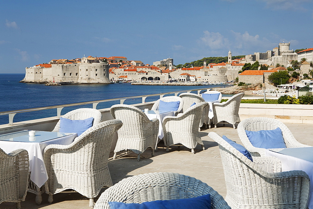 Breakfast terrace beside sea, Dubrovnik, Croatia