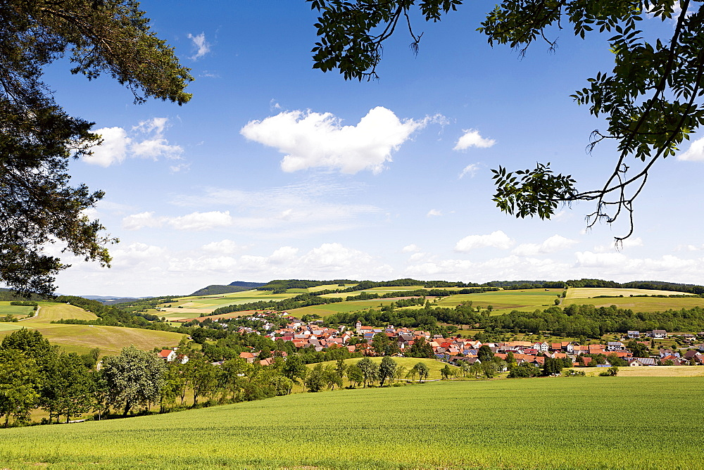 View of landscape and village, Olfen, Sontra, Hesse, Germany