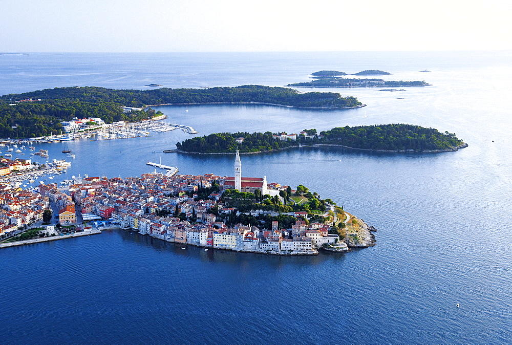 Aerial view of Rovinj's Old Town in Istria, Croatia