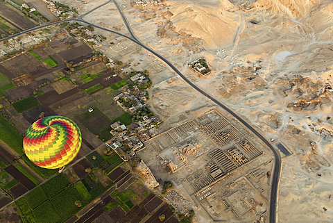 Aerial view hotair balloon over Ramesseum, Valley of Kings, West Thebes in Luxor, Egypt