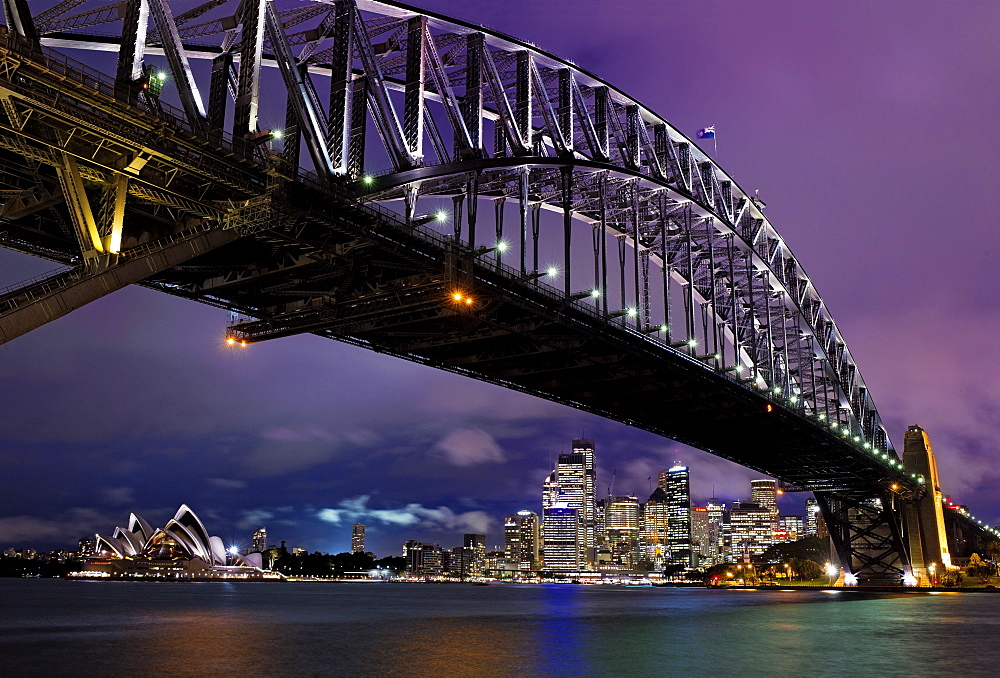 Sydney Harbour Bridge overlooking Opera House in New South Wales, Australia