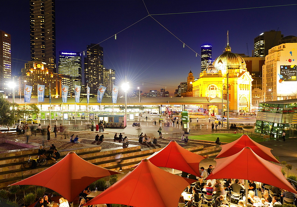 People at Federation Square, Flinders Street, Melbourne, Victoria, Australia