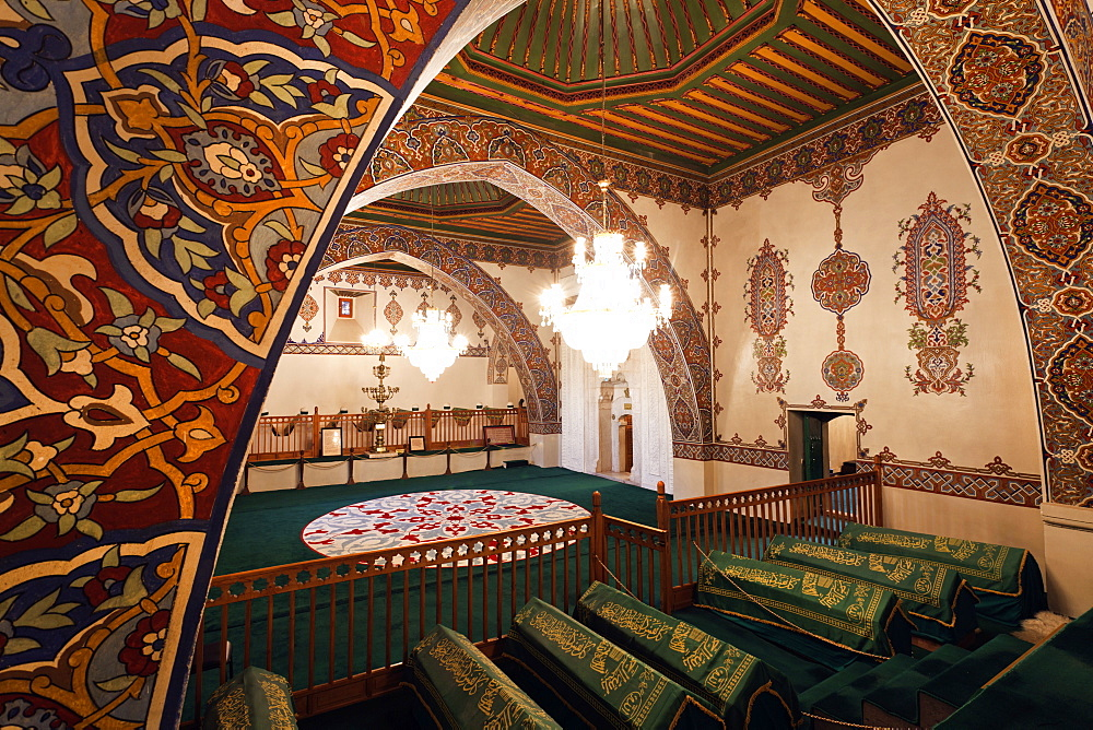 Interior of Dervish Monastery with Sarcophagi, Cappadocia, Anatolia, Turkey