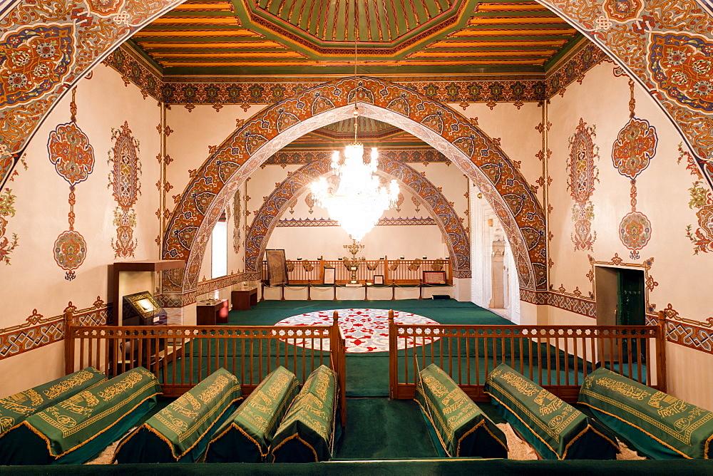 Interior of Dervish Monastery with Sarcophagi, Cappadocia, Anatolia, Turkey
