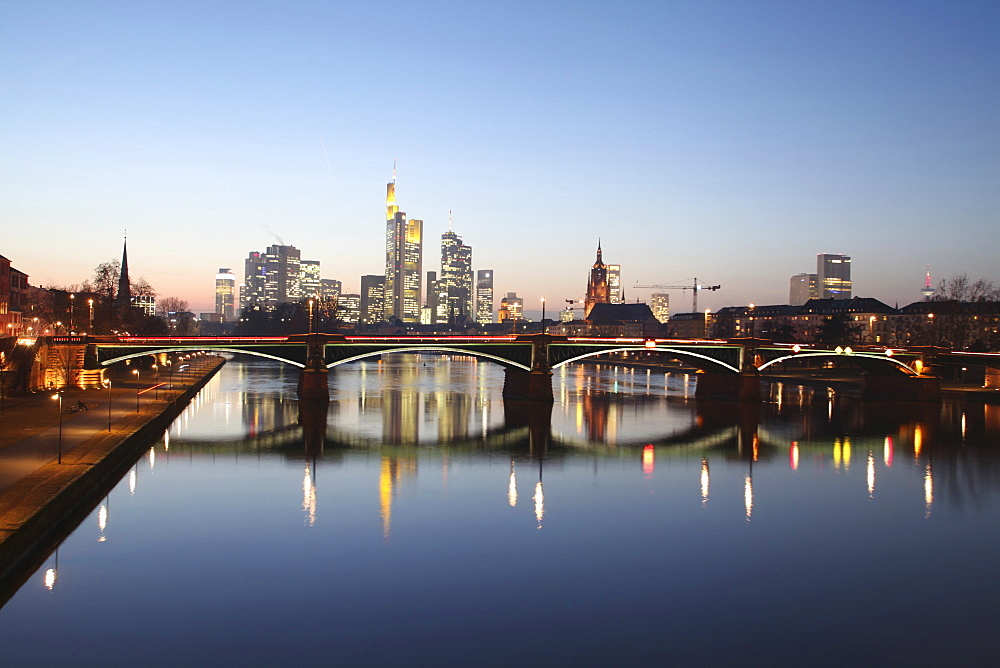 View of bridge over Main river in Frankfurt, Hesse, Germany