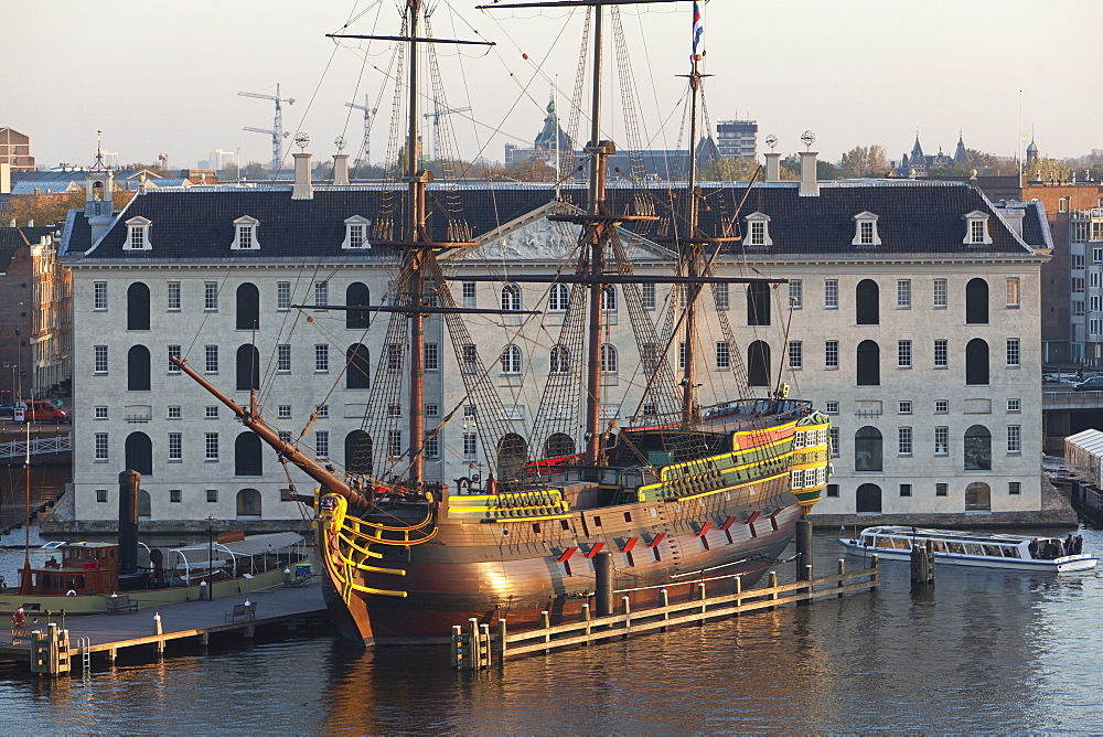 Ship Amsterdam in front of National Maritime Museum, Amsterdam, Netherlands