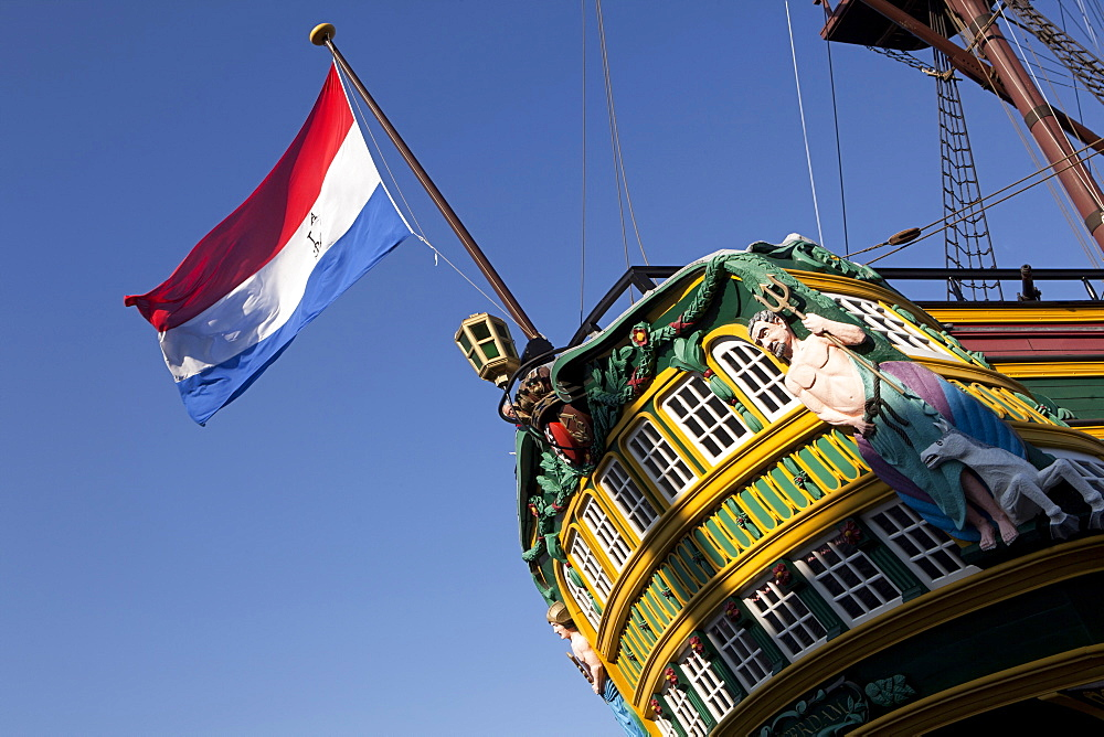 Flag of Netherlands on Ship Amsterdam in Amsterdam, Netherlands