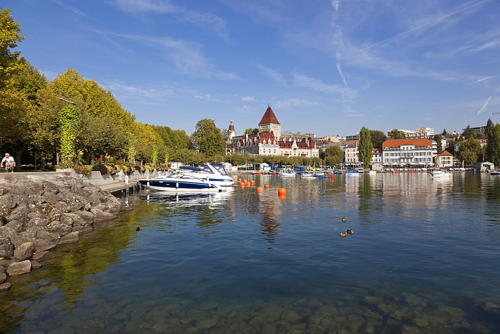View of Ouchy Castle Hotel on Lake Geneva, Geneva, Lausanne, Switzerland