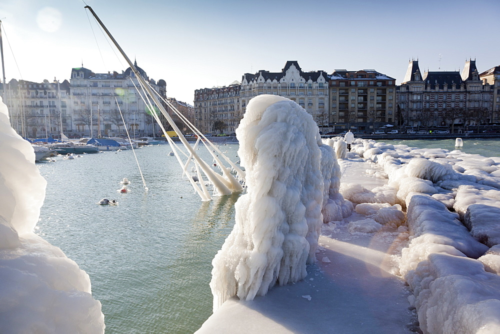 View of harbor with ice in Lake Geneva, Geneva, Switzerland
