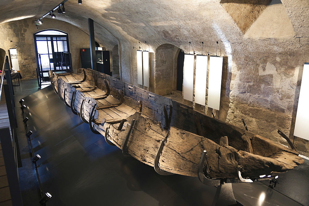 Interior of museum with old boat, Yverdon-les-Bains, Neuchatel, Switzerland