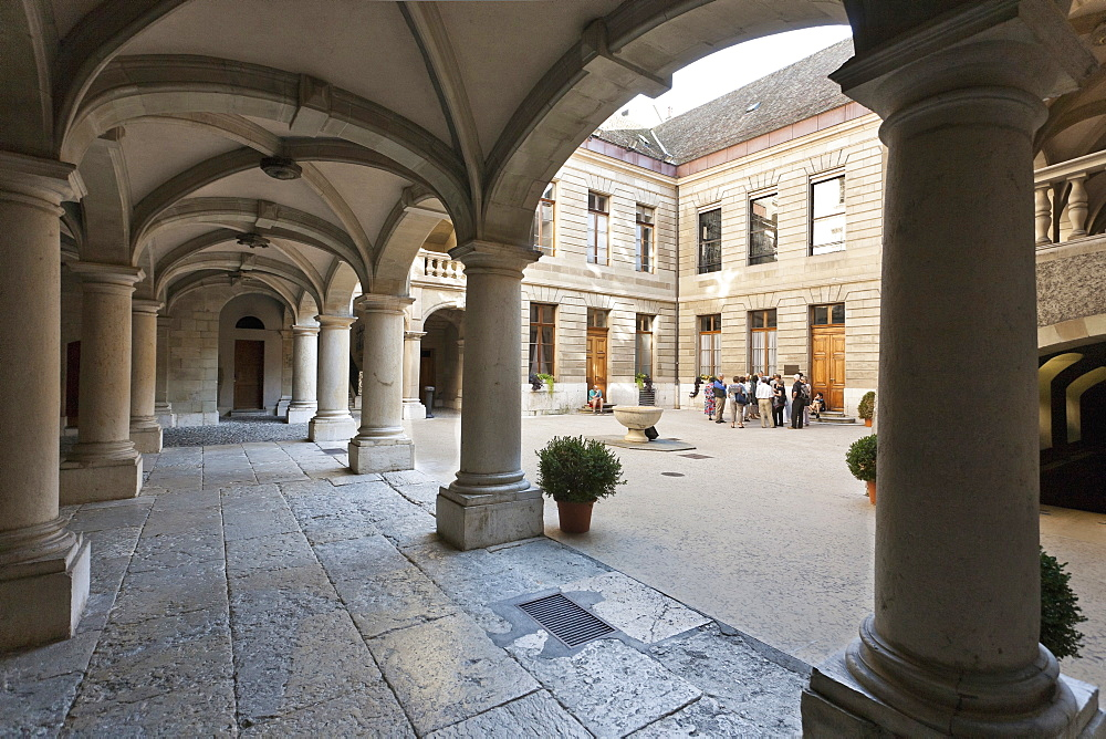 Courtyard of the Hotel de Ville with column, Geneva, Switzerland