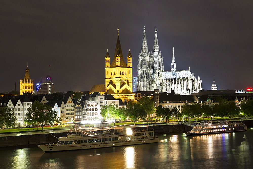Hohenzollern Bridge with Cologne cathedral of St.Peter and Maria across Rhine, Germany
