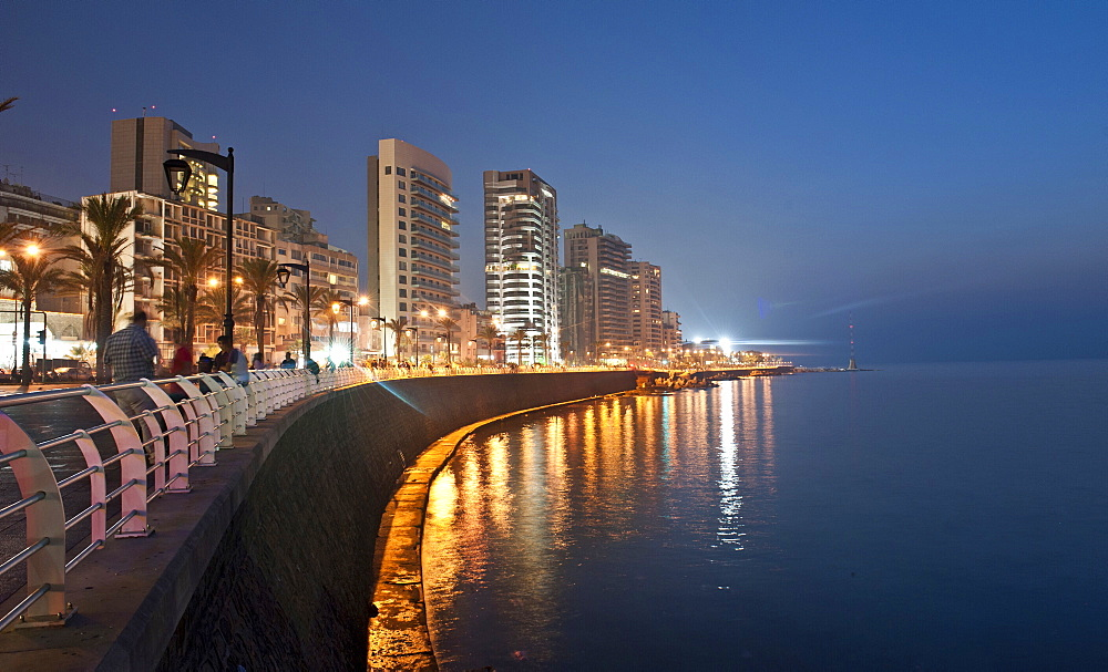 View of Corniche El-Manara skyline at waterfront, Beirut, Lebanon