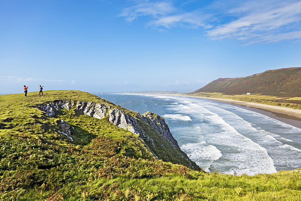 Elevated view of Rhossili Bay, Gower peninsula in Wales, UK