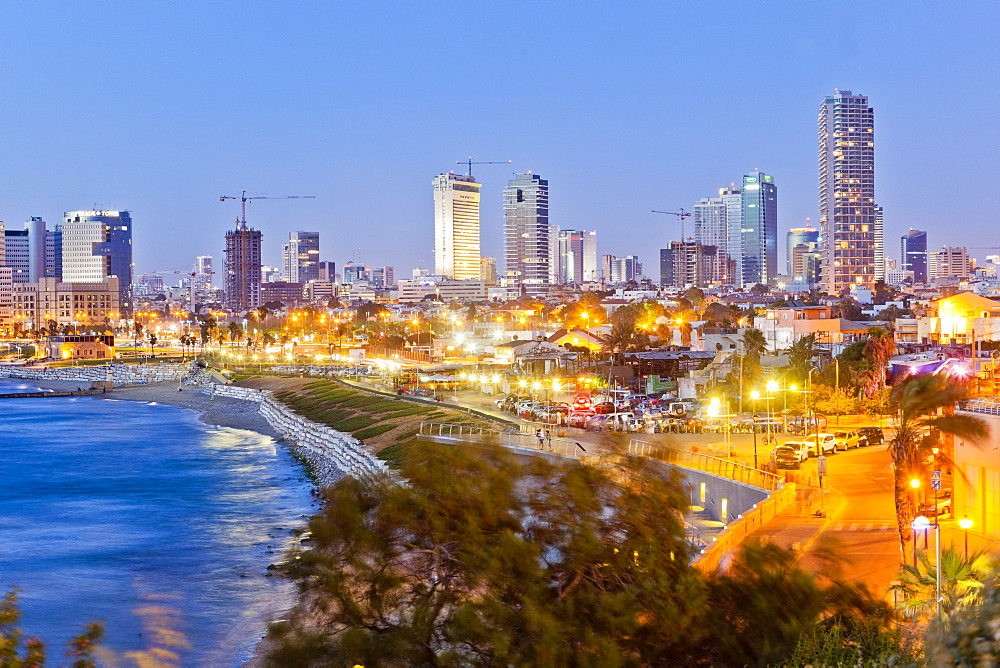 View of Neve Tzedek district skyline and Mediterranean at evening, Tel Aviv, Israel