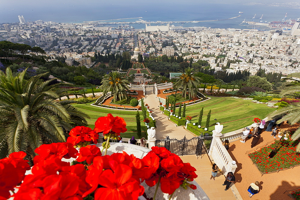 People at Shrine of the Bab and view of Bahai Garden from Mount Carmel, Haifa, Israel