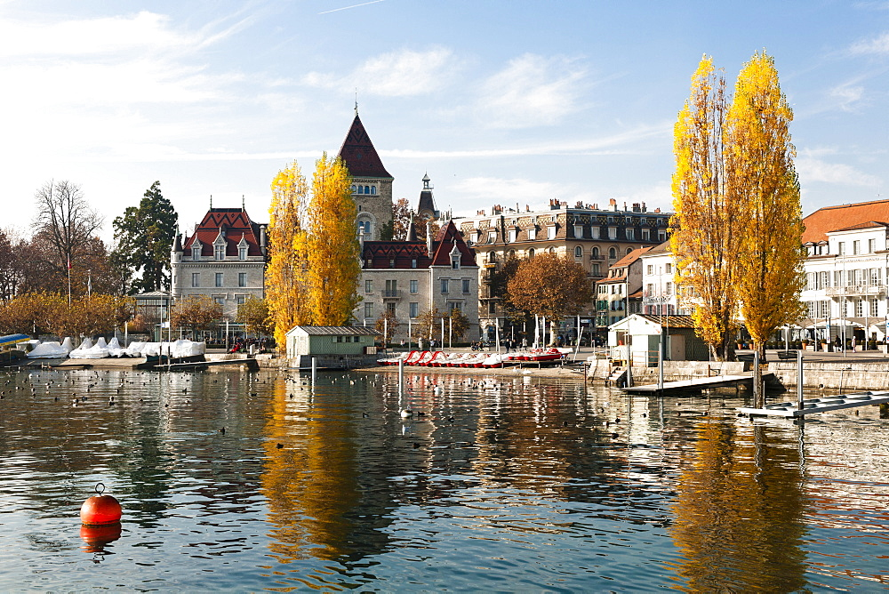View of Lake Geneva at Lausanne, Canton of Vaud, Switzerland