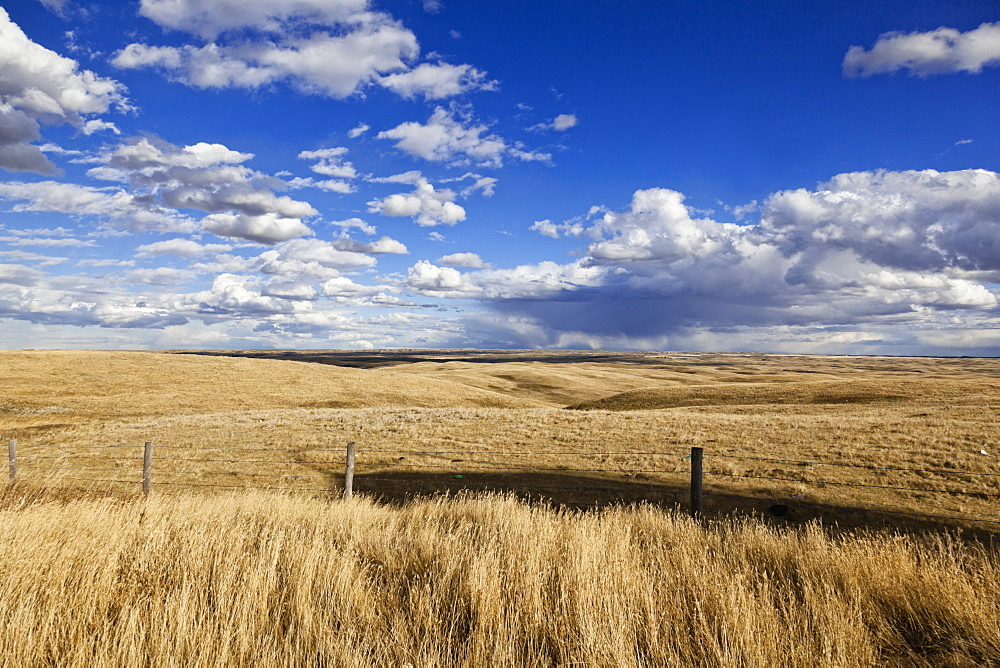 View of landscape with clouds and blue sky in Saskatchewan, Canada