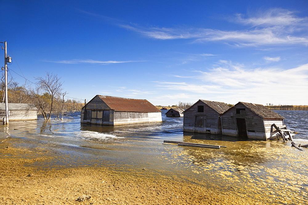 Flooded houses at Saskatchewan, Canada
