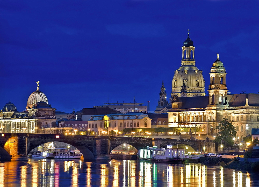 View of Dresden City at night, Saxony, Germany