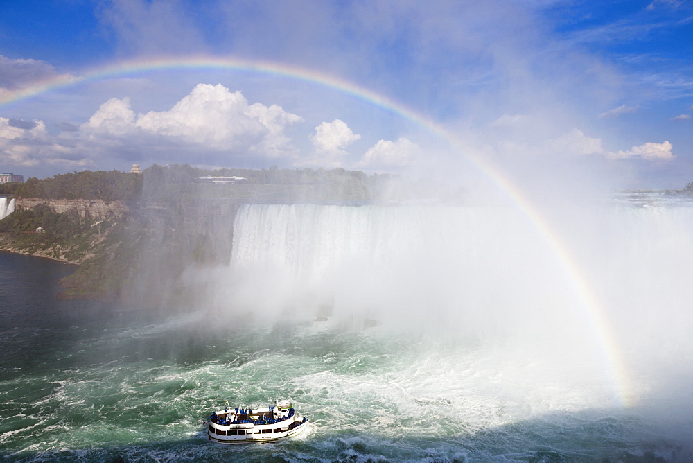 Boat below Niagara Falls in canada