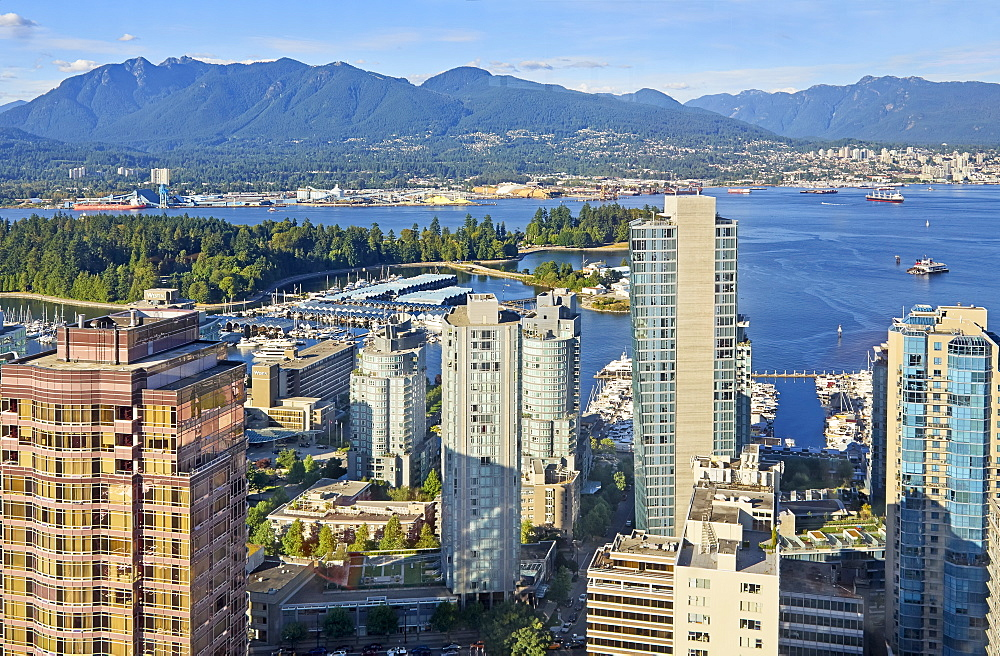 View of coal Harbour section of Burrard Inlet in Vancouver, British Columbia, Canada