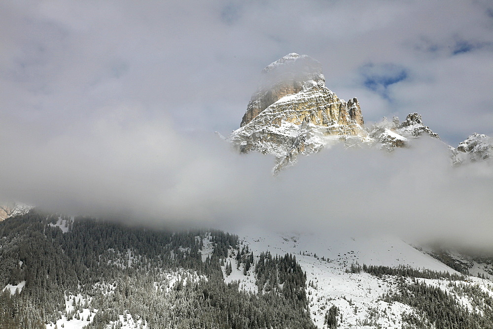 View of winter mountain at Dolomites, Corvara, South Tyrol, Italy