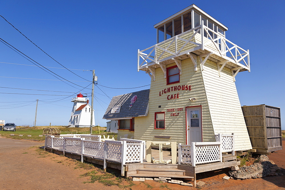 Lighthouse cafe at North Rustico Harbour, Canada