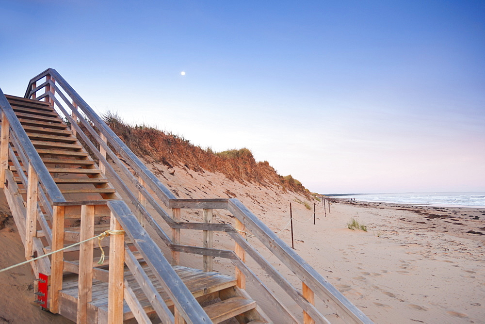 Staircase on beach of Brackley-Dalvay, Prince Edward island National park, Canada