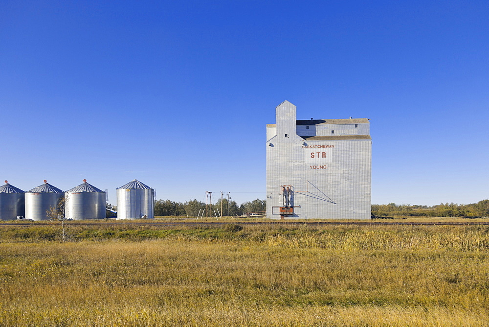 View of granary factory on Highway 2, Saskatchewan, Canada