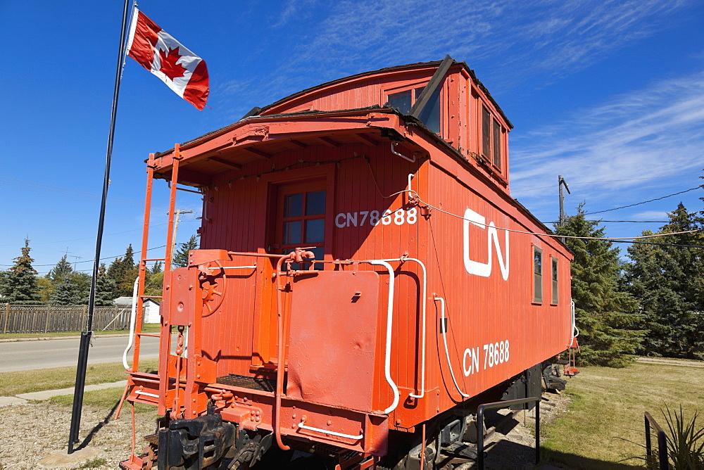 View of red old train at Saskatchewan Museum in Nokomis, Canada