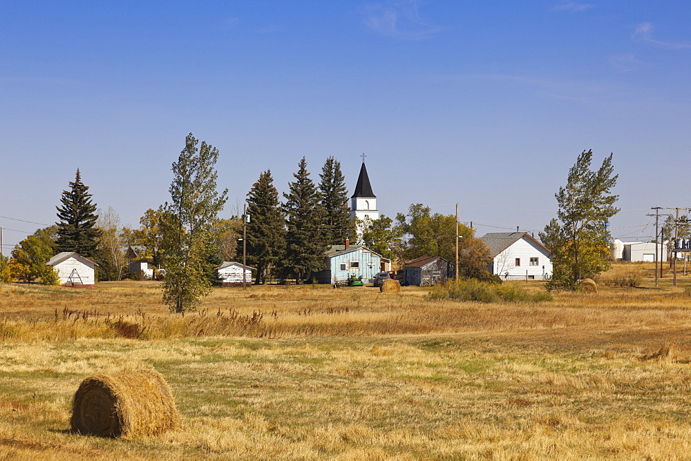 View of truck and houses in Ceylon, Saskatchewan, Canada