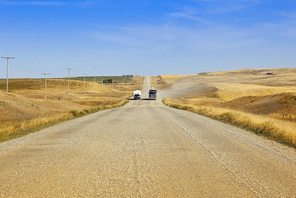 View of fields on highway 18 East, Saskatchewan, Canada