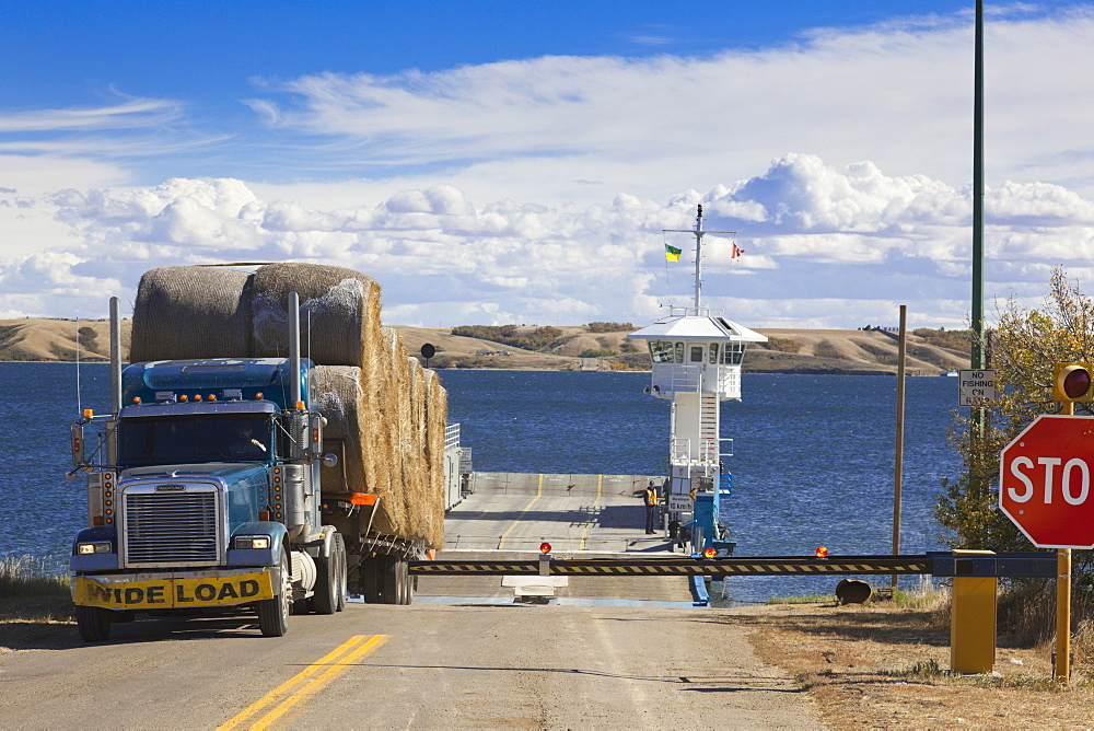 Truck near signal of Lake Diefenbaker, Saskatchewan, Canada