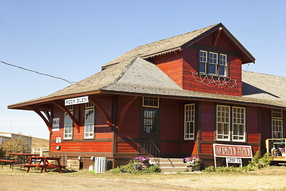 View of wooden house in Rockglen, Saskatchewan, Canada