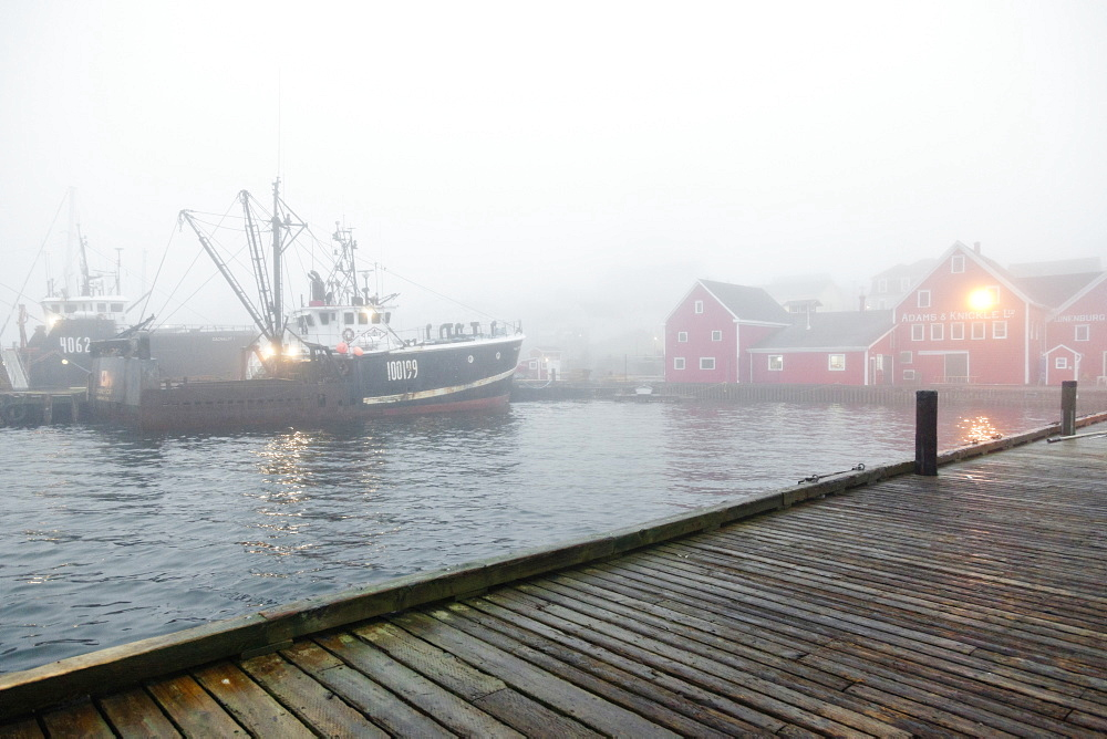 View of morning light fog in Lunenburg, Nova Scotia, Canada