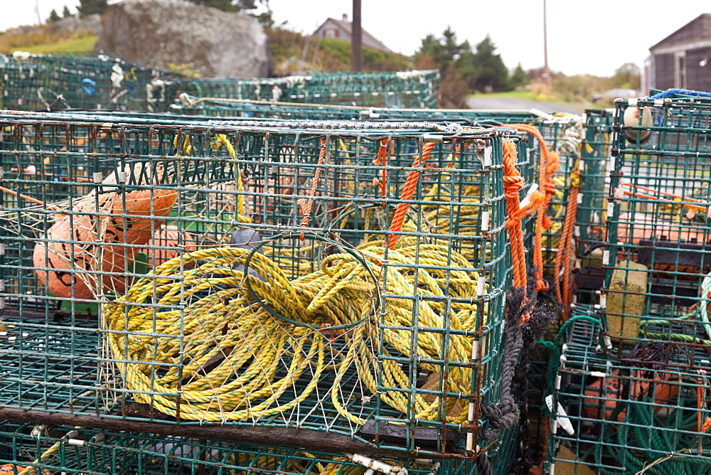 Basket with ropes uded for fishing, Nova Scotia, Canada