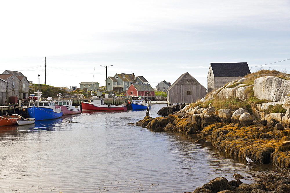 Boats in Peggy's Cove at fishing village, Nova Scotia, Canada