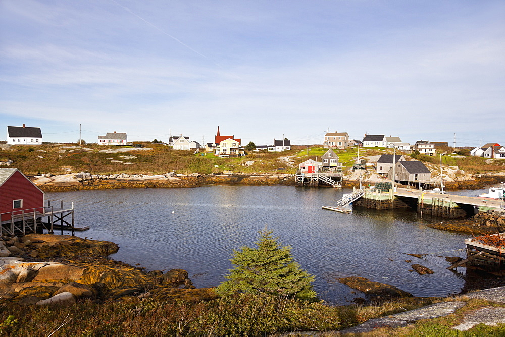View of fishing village Peggy's Cove in Nova Scotia, Canada