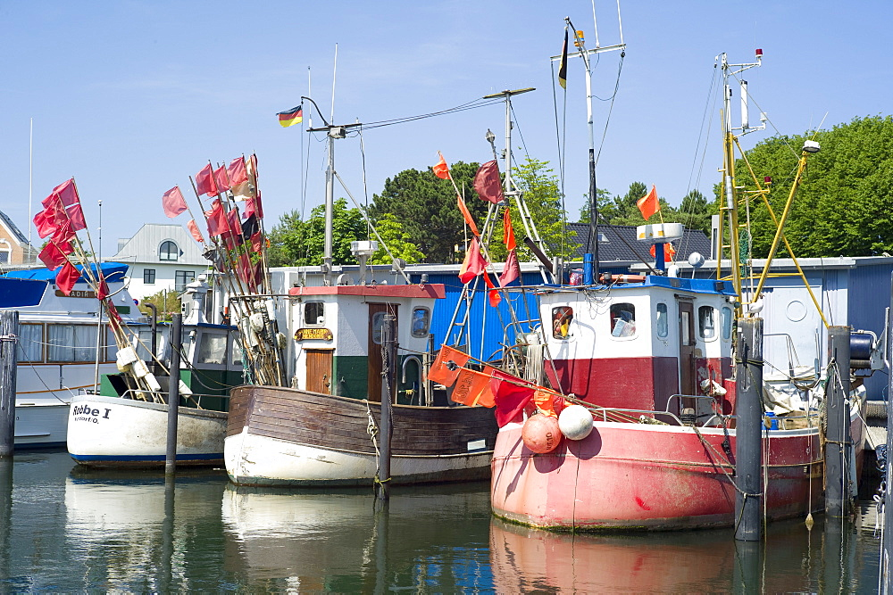 Fishing boats in the harbour of Niendorf, Schleswig Holstein, Germany