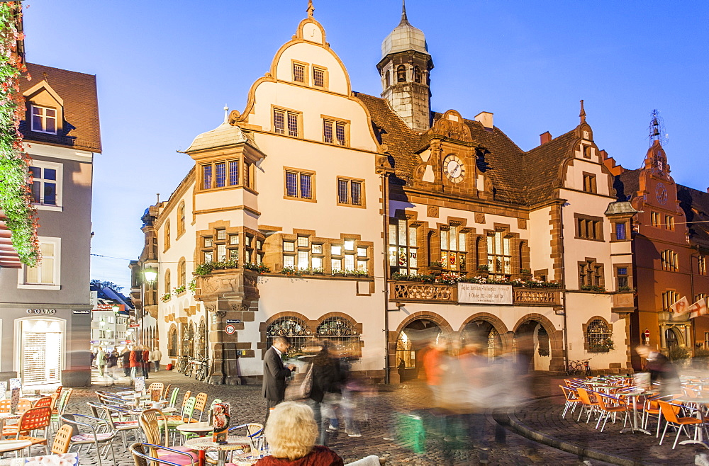 Facade of the New City Hall at City Hall Square, Freiburg, Germany, blurred motion