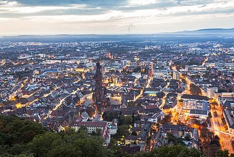 View of Freiburg im Breisgau cityscape from the Schlossberg, Baden-Wurttemberg, Germany